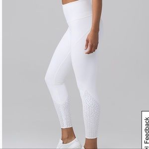 Lululemon White Anew Mesh Crop Leggings